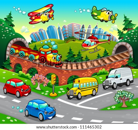 Funny vehicles in the city. Cartoon and vector illustration. #111465302
