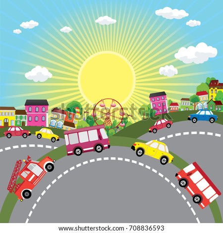 Funny vehicles in the city. Cartoon and vector illustration. #708836593