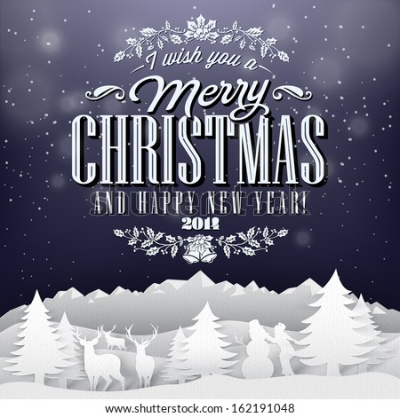 Funny Vintage Paper Christmas Elements  Background With Typography