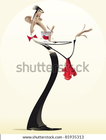 Funny waiter with red wine. Cartoon and vector illustration.