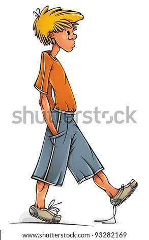 Funny walking clumsy teenager boy, vector illustration. - stock vector