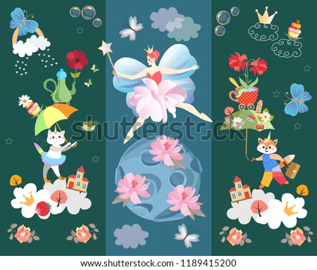 Funny wallpaper or poster for baby. Winged fairy princess, blue planet with gentle pink flowers, kitten and little fox with fantasy umbrellas, magic wand, stars, buildings, clouds, crown, teapot.