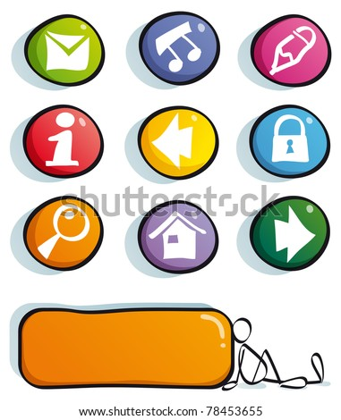 funny web buttons with icons for cute website: mail, frequently asked questions, information, home, find, net, Social Network