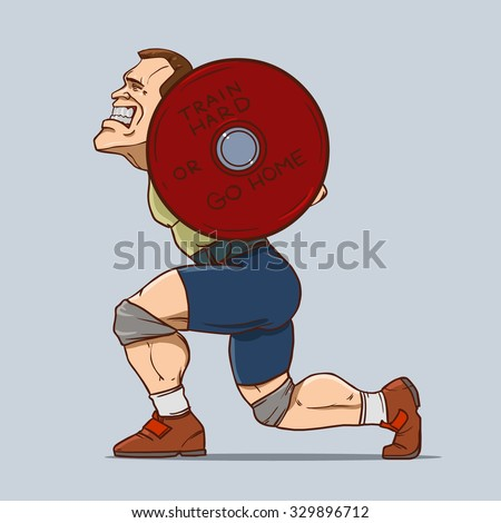 funny weightlifter  cartoon