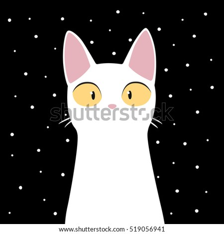 funny white cat with snowflakes