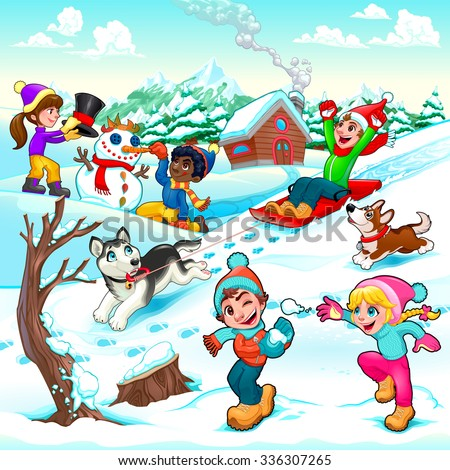 funny winter scene with