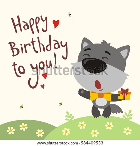 Funny wolf sings song happy birthday to you greeting card in funny wolf sings song happy birthday to you greeting card in cartoon style m4hsunfo
