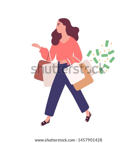 Funny woman carrying bags with purchases. Concept of shopping addiction, shopaholic behavior. Mental illness, behavioral problem, psychiatric condition. Flat cartoon colorful vector illustration.