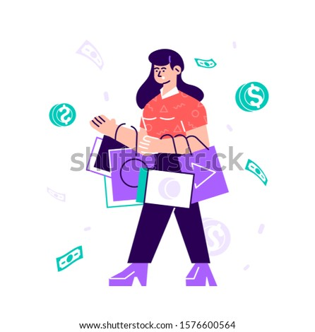 Funny woman carrying bags with purchases. Concept of shopping addiction, shopaholic behavior. Mental illness, behavioral problem, psychiatric condition. Flat style cartoon colorful vector illustration
