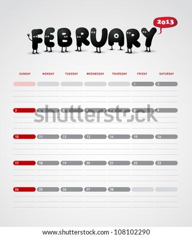 Funny year 2013 vector calendar February