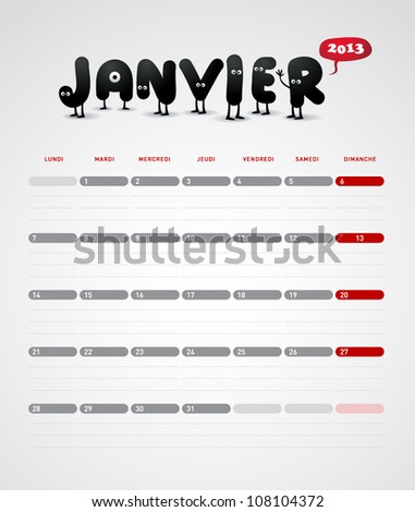 Funny year 2013 vector calendar January -  In French.