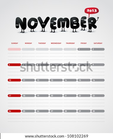 Funny year 2013 vector calendar November
