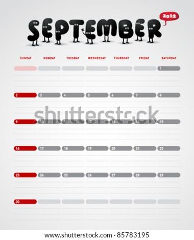 Funny year 2012 vector calendar September