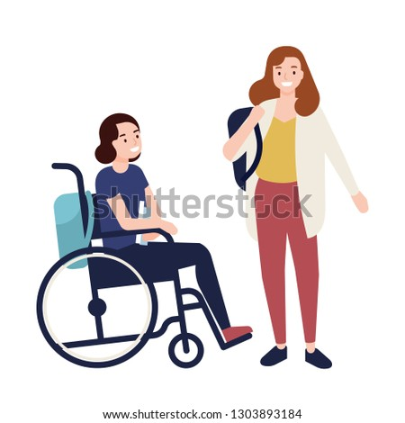 Funny young girl sitting in wheelchair talking to her friend or classmate. Teenager, female student or pupil with physical disability and school inclusion. Flat cartoon colorful vector illustration.