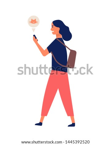 Funny young woman communicating via smartphone while walking. Happy girl surfing internet on mobile phone. Online or digital communication, social media addiction. Flat cartoon vector illustration.