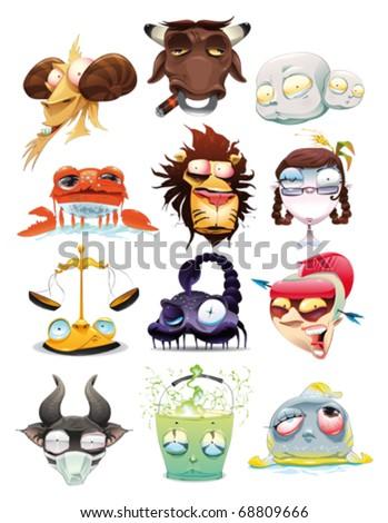 Funny Zodiac. Cartoon and vector illustration, isolated objects