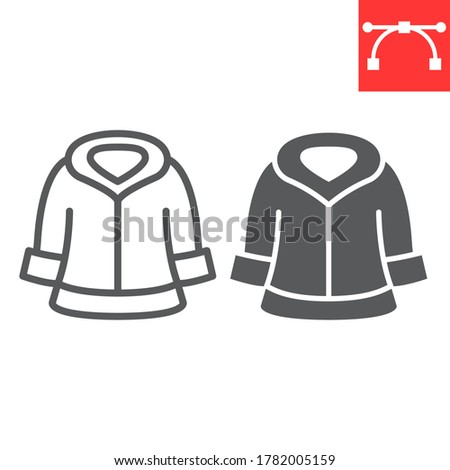 Fur dry cleaning line and glyph icon, dry cleaning and wash, coat sign vector graphics, editable stroke linear icon, eps 10 Foto d'archivio ©