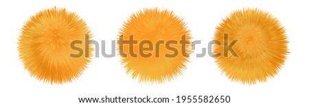Fur pompom. Fluffy furry orange balls. Shaggy downy texture. Set of isolated icons. Vector illustration Stock photo ©