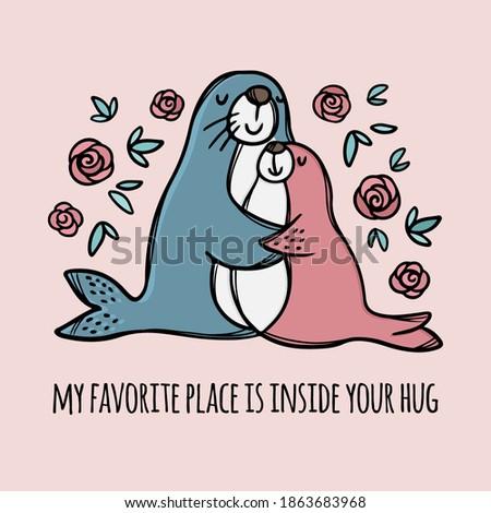 fur seal hugs daughter parental
