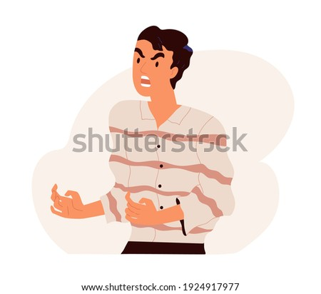 Furious angry man shouting and screaming with rage. Outraged guy with aggressive face expression scolding and yelling in anger. Colored flat vector illustration isolated on white background