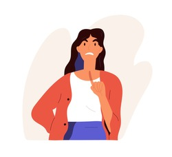 Furious angry woman scolding in anger. Annoyed female character with irritated face expression complaining and pointing with finger up. Colored flat vector illustration isolated on white background
