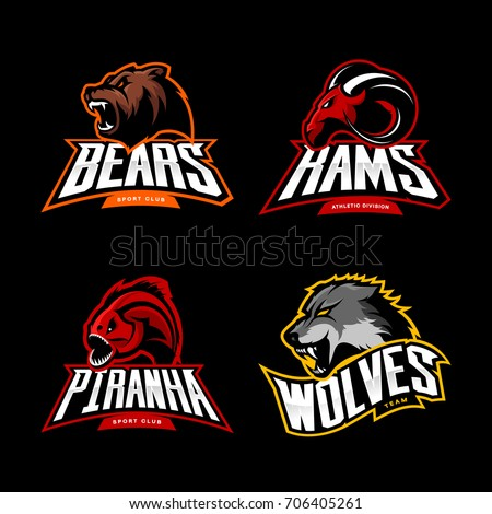 Furious bear, wolf, ram and piranha sport vector logo concept set isolated on black background. Street wear mascot team badge design. Premium quality wild animal emblem t-shirt tee print illustration.