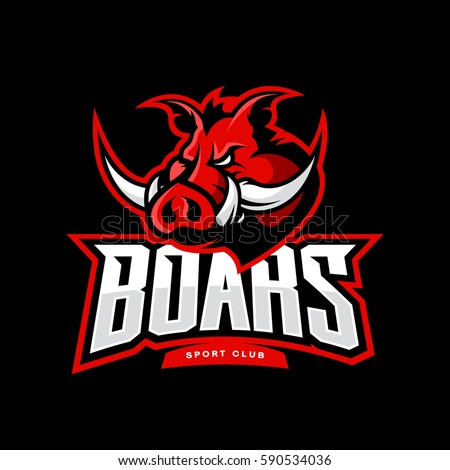 Furious boar sport club vector logo concept isolated on dark background. Professional team pictogram design. Premium quality wild pig animal t-shirt tee print illustration.