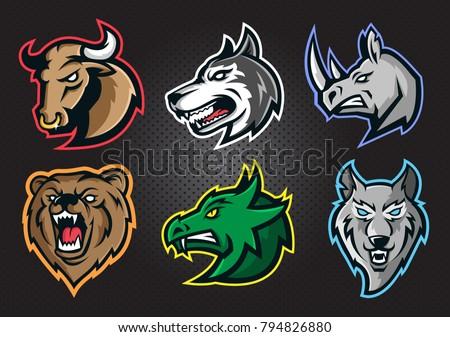 Furious bull, dog, rhino, bear, dragon, wolf  head. Modern professional predator head logo  for a sport team