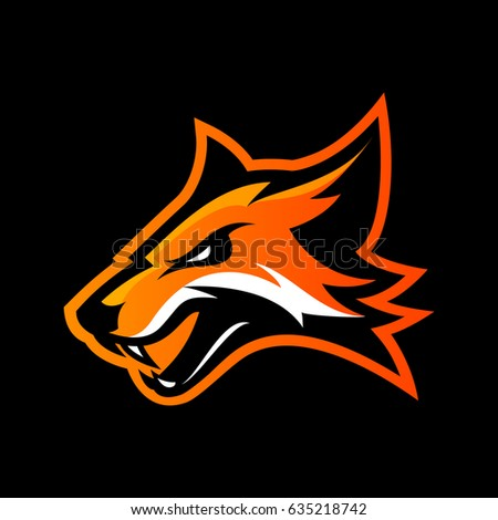 Shutterstock Furious fox sport club vector logo concept isolated on black background. Modern professional team badge mascot design. Premium quality wild animal athletic division t-shirt tee print illustration.