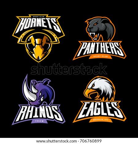 Furious hornet, panther, eagle and rhino sport vector logo concept set isolated on black. Street wear mascot team badge design. Premium quality wild animal emblem t-shirt tee print illustration.