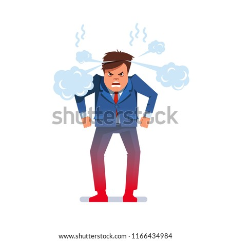 Furious outraged chief executive business man frowning, screaming, grinning and pumping fists while standing. Angry mad boss with steaming smoke from his head. Flat vector character illustration