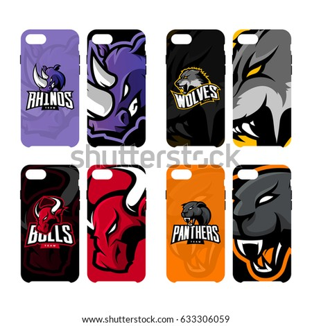 Furious rhino, wolf, bull and panther sport vector logo concept smart phone case. Modern professional team badge. Premium quality wild animal mascot cell phone cover illustration design.