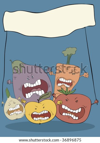 furious vegetables emotion fruit nails devil hand face tomato teeth wild food fun scare hell mouth molar fright worry fingers caricature nurture painting fury lip nightmare cruel terror comic facial r Stock fotó ©