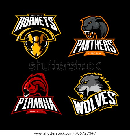Furious wolf, hornet, panther and piranha sport vector logo concept set isolated on black. Street wear mascot team badge design. Premium quality wild animal emblem t-shirt tee print illustration.
