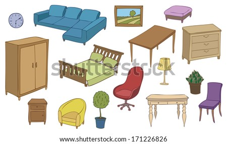 furniture and decoration color vector set stock photo