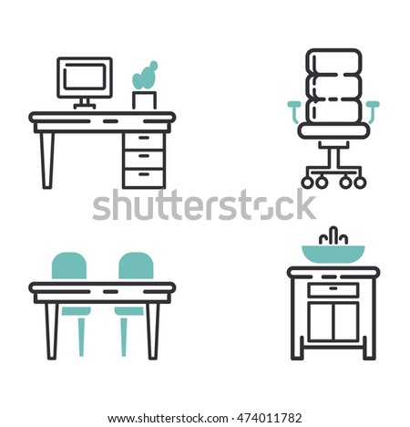 Modern Furniture Icon furniture and home decor icon set vector illustration. indoor