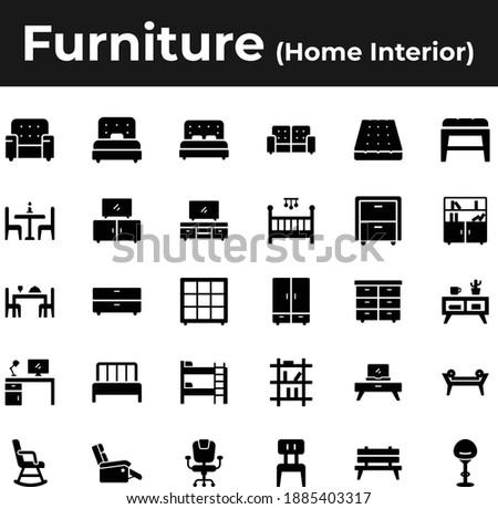 Furniture and home interior icon set ストックフォト ©