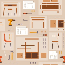 Furniture assembly and DIY seamless pattern with tools
