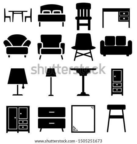 Furniture black icons Vector set. Furniture illustration symbol collection.
