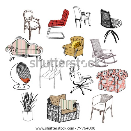 Furniture. Chair. Sofa. Modern &Amp; Classic Style Stock Vector ...