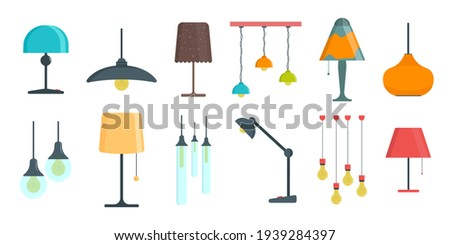 Furniture chandelier, floor and table lamp in flat cartoon style. A set of lamps on a white background. Chandeliers, illuminator, flashlight - elements of a modern interior. Vector illustration. Photo stock ©