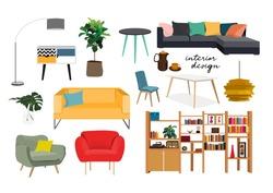 furniture collection. vector interior design elements.