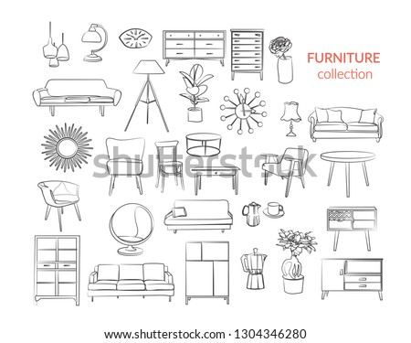 furniture collection. vector interior design elements. outlined furniture drawing.  stock photo