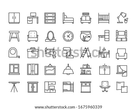Furniture, devices and decor object outline line icon vector illustration set