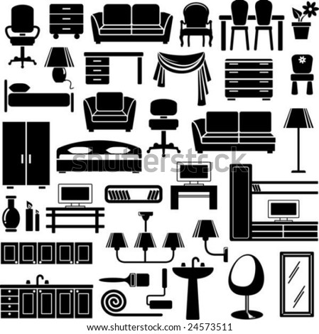 Furniture end lighting icons set