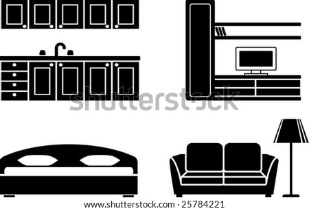 Furniture Bedroom on Furniture For Kitchen  A Drawing Room And A Bedroom Stock Vector