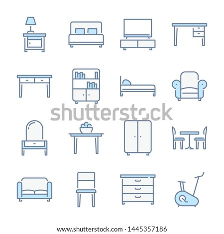 Furniture, Home furniture and Сushioned furniture related blue line colored icons.