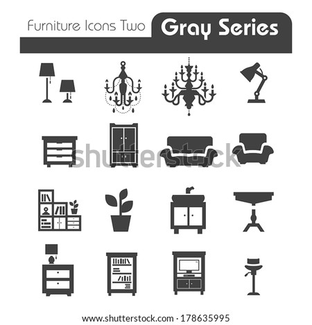furniture icons gray series two