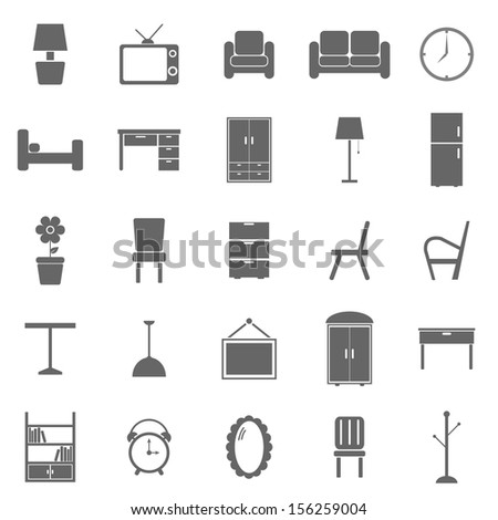 Furniture icons on white background stock vector
