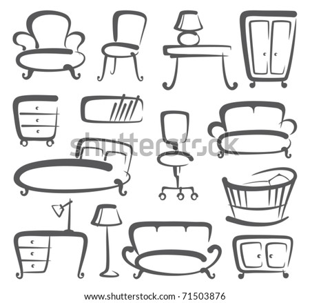 Furniture icons set - stock vector